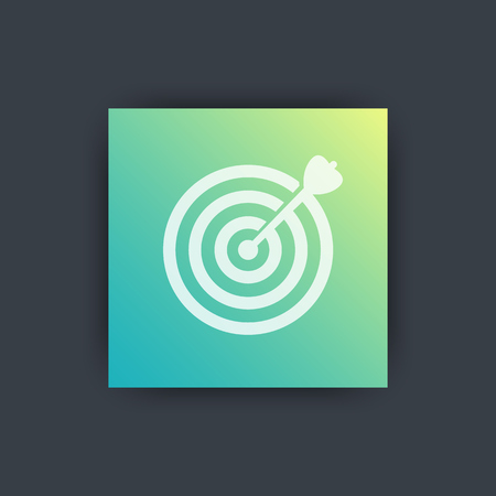 achieving: target with arrow icon, achieving goal, vector illustration
