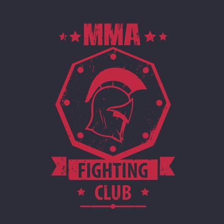fighting styles: MMA Fighting Club logo, emblem, badge with spartan helmet, red on dark, vector illustration Illustration