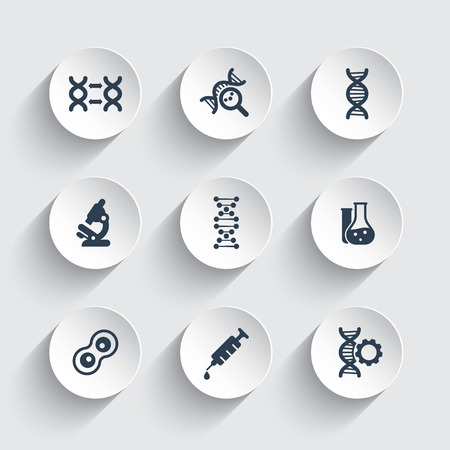 modification: genetics icons, dna chain vector sign, genetic modification, dna research, laboratory icons on round 3d shapes