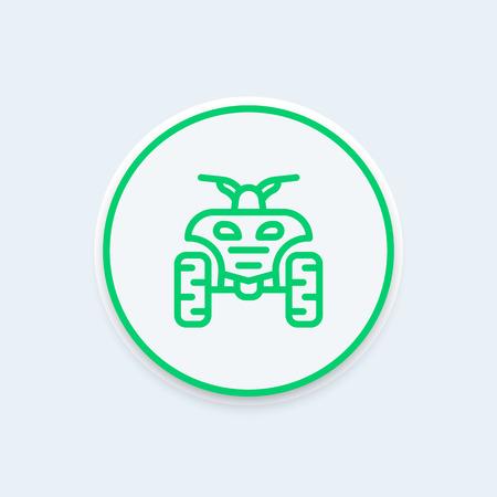 quad bike: quad bike line icon, atv, quadricycle linear icon, vector illustration Illustration