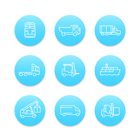 lading: Transportation line icons, forklift, cargo ship, train, cargo truck, transit, transportation linear pictograms, round blue icons on white, vector illustration