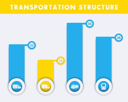 lading: Transportation structure design, shipment, infographics elements, vector illustration Illustration