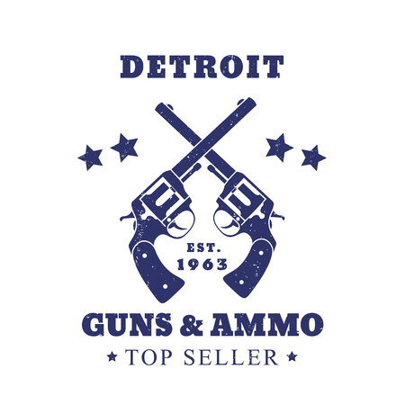 ammo: Detroit guns and ammo sign, emblem with two revolvers isolated on white, vector illustration
