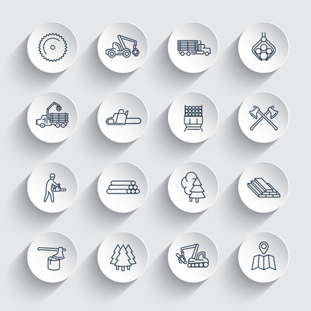 logging: Logging line icons, sawmill, forestry equipment, logging truck, tree harvester, timber, wood, lumber, linear icons on round 3d shapes, vector illustration