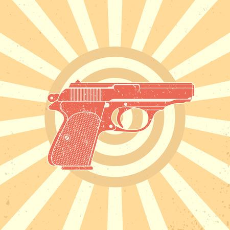 world war 2: classic pistol, old handgun silhouette, world war 2 german pistol, vector illustration