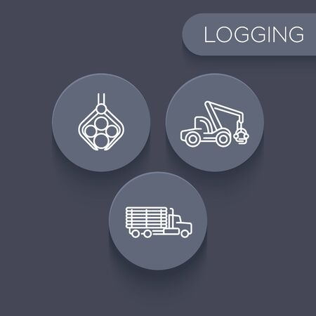 cut logs: Logging, forestry, timber, tree harvester, logging truck linear icons, vector illustration