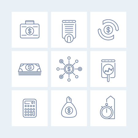 futures: finance, investments, investment analysis line icons isolated on white, finance linear pictograms, vector illustration