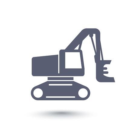 timber harvesting: Forest harvester icon, track feller buncher, timber harvesting machine on white, vector illustration