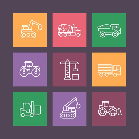 heavy construction: construction vehicles line icons on squares, heavy machines, engineering equipment, vector illustration