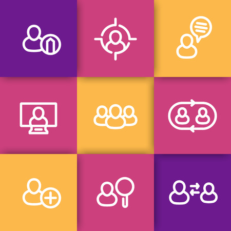 delegation: Human resources icons, hrm, personnel management, staff rotation, coaching, hiring, thick line icons pack, vector illustration