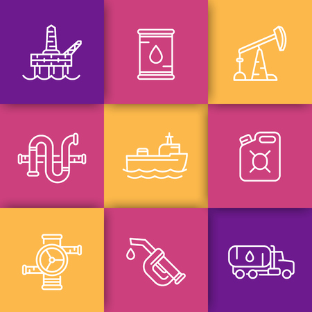deep drilling: Petroleum industry line icons, barrel, oil and gas production platform, rig, derrick, pipeline, tanker ship, gasoline nozzle, petrol can, vector illustration
