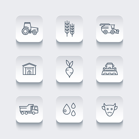 agrimotor: Agriculture, farming line icons, tractor, agrimotor, harvest, barn, cattle, agricultural machinery, vector illustration