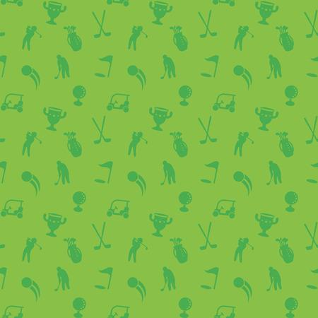 naadloze patroon met golf iconen, groene naadloze achtergrond, golfkar, clubs, bal, golfspeler, golftas, vector illustratie