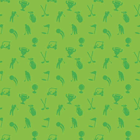 seamless pattern with golf icons, green seamless background, golf cart, clubs, ball, golfer, golf bag, vector illustration