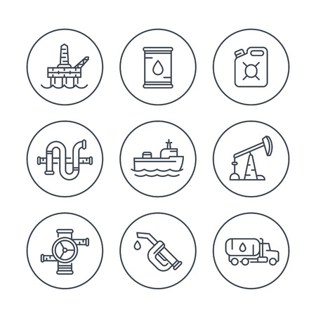 petrol can: Petroleum industry line icons, oil rig, derrick, pipeline, barrel, drilling platform, oil tanker, petrol can, vector illustration