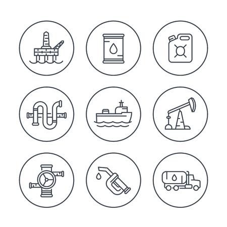 deep drilling: Petroleum industry line icons, oil rig, derrick, pipeline, barrel, drilling platform, oil tanker, petrol can, vector illustration