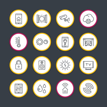 control system: smart house technology system line icons set, home automation control system, smart house round signs, vector illustration Illustration