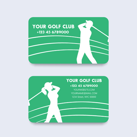 golfer swinging: Business card design for golf club, vector illustration