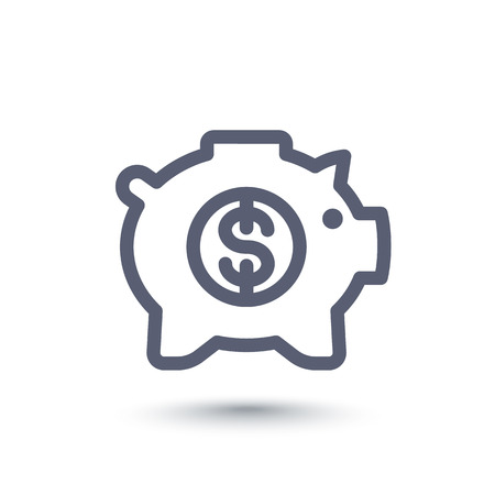 ideogram: moneybox line icon, money box pig, piggy bank, banking, isolated linear pictogram, vector illustration