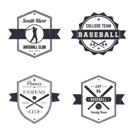 pelota beisbol: club de béisbol, equipo insignias de época, jugador de béisbol con el bate, cruzó bates de béisbol y la pelota, ilustración vectorial