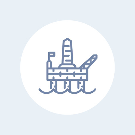 deep drilling: oil drilling platform line icon, offshore oil rig linear pictogram isolated on white, vector illustration