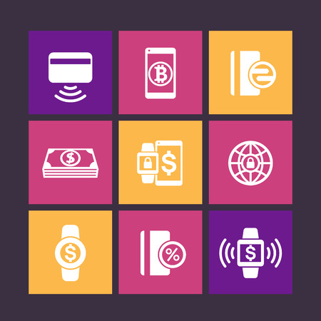 wirelessly: modern payment methods icons on color squares, payment with wearable devices vector pictogram, contactless card, vector illustration Illustration