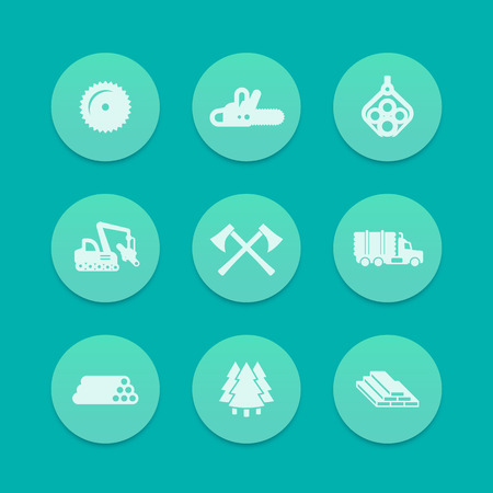 logging: Logging, forestry equipment icons Illustration