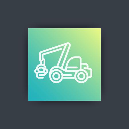 timber harvesting: Forest harvester icon, timber harvesting machine, wheeled feller buncher, line icon, vector illustration Illustration
