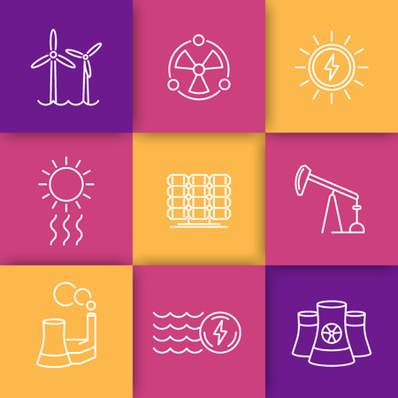 production of energy: Power, energy production thin line icons set, energetics, nuclear energy, vector illustration
