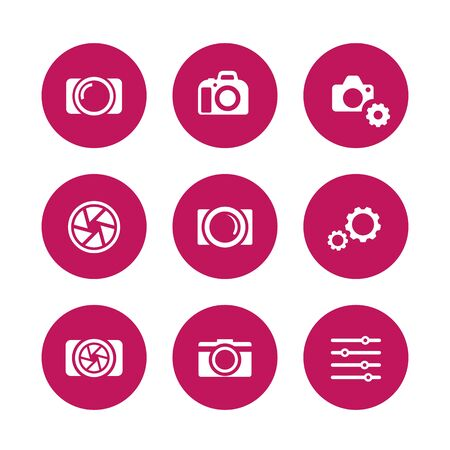 dslr: photography icons, camera, aperture, dslr, photography signs, pictograms, round icons on white, vector illustration