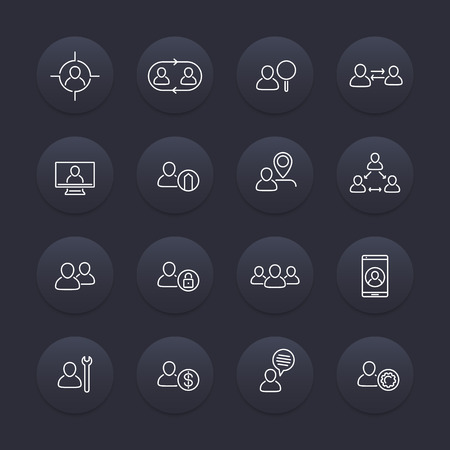labor market: Personnel line icons, HR, Human resources, staff management, linear pictograms on round dark shapes, vector illustration