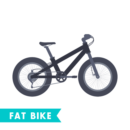 Fat bike in flat style isolated on white, vector illustration Illustration