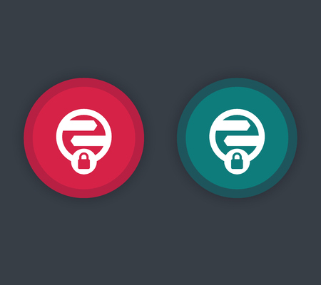 unsafe: secure transaction icon, online security pictogram, red and green button, vector illustration