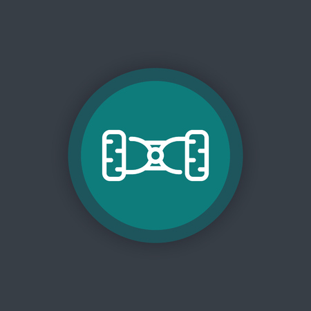 a two wheeled vehicle: hoverboard, gyroscooter linear icon, vector illustration