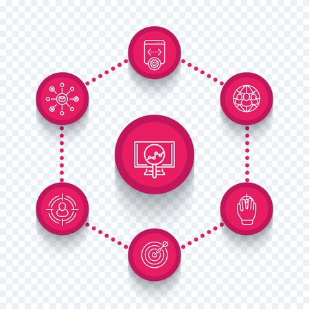 indexing: seo, search engine optimization, internet marketing, web page indexing, seo tools line icons, vector illustration Illustration