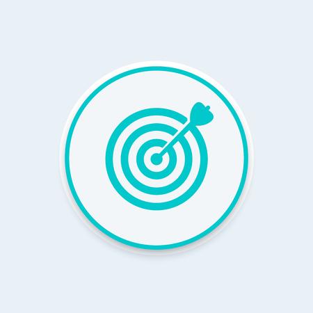 Ziel mit Pfeil-Symbol, Zielerreichung Konzept mit Pfeil in der Mitte eines Ziels, Vektor-Illustration