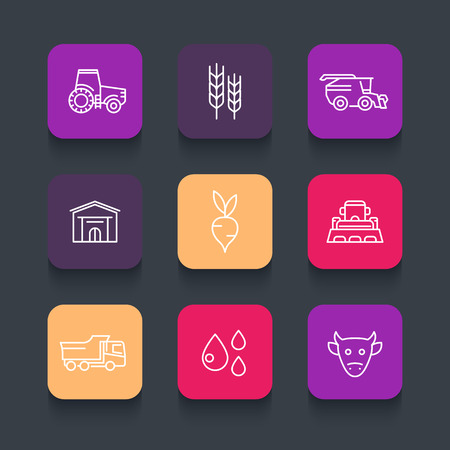 agricultural machinery: Agriculture, farming line icons, tractor, agrimotor, harvest, barn, barley, agricultural machinery, vector illustration Illustration