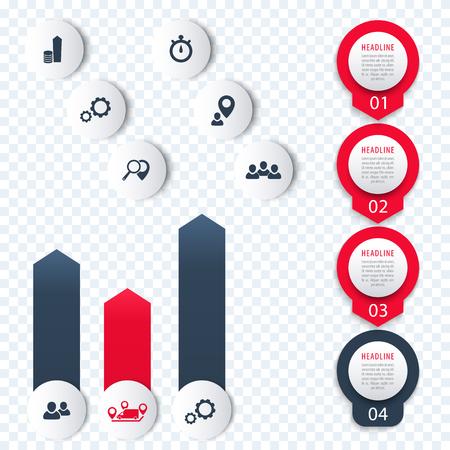 3 4: Vertical timeline, elements for infographics, icons, 1, 2, 3, 4, step labels, chart, vector illustration