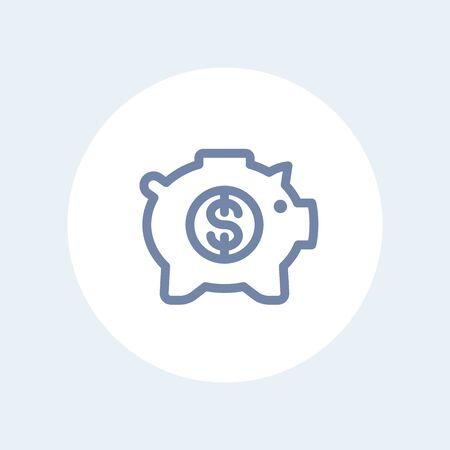 ideogram: moneybox line icon, savings, money box pig, piggy bank, banking, linear pictogram isolated on white, vector illustration Illustration