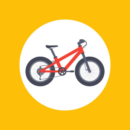 snow tire: Fat bike icon in flat style, vector illustration