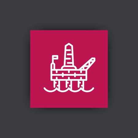 deep drilling: oil drilling platform line icon, offshore oil rig linear sign, vector illustration Illustration