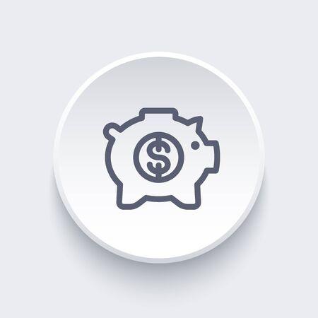 ideogram: moneybox line icon, savings, money box pig, piggy bank, banking pictogram, vector illustration Illustration