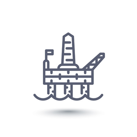 drilling: oil drilling platform line icon
