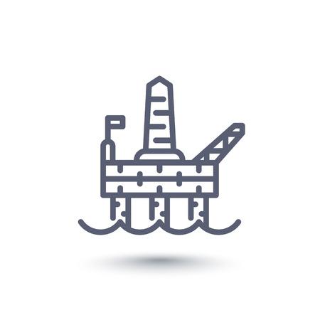deep drilling: oil drilling platform line icon