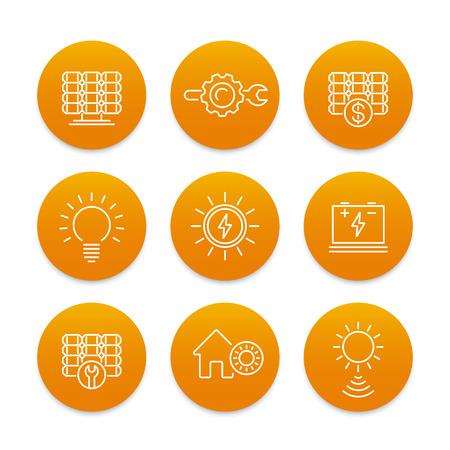 energetics: Solar energy line icons set, power, energetics, solar panels installation, sun as energy source Illustration