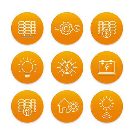 Solar energy line icons set, power, energetics, solar panels installation, sun as energy source Illustration
