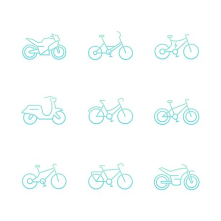 Bikes icons, bicycle, cycling, motorcycle, motorbike, fat bike, scooter, electric bike thin line icons on white, vector illustration