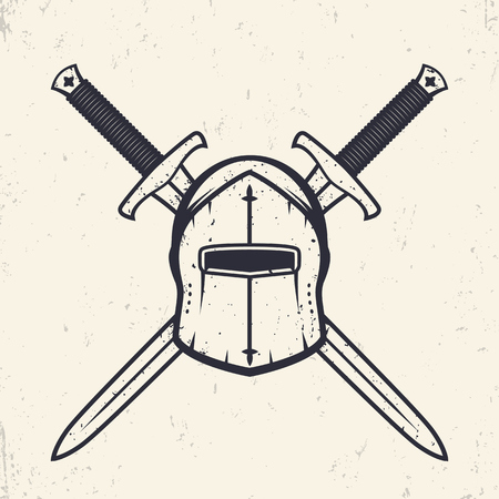 longsword: medieval helmet and crossed swords, logo elements, vector illustration Illustration