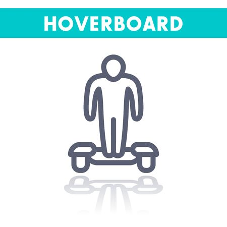 hover: hoverboard linear icon on white Illustration