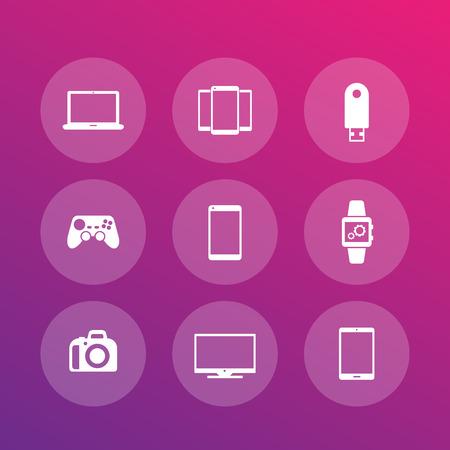 dslr: Gadgets icons (laptop, tablet, camera, tv, smart watch, dslr, gamepad), vector illustration